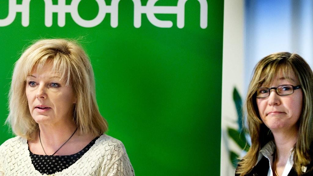Unionens förbundsordförande Cecilia Fahlberg, till vänster, och Sveriges Ingenjörers förhandlingschef Camilla Frankelius