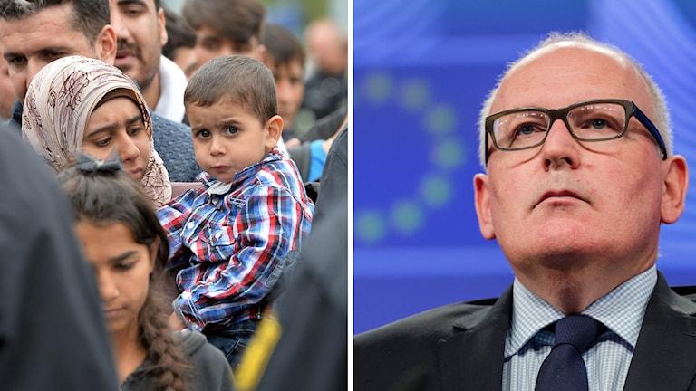 EU-kommissionens vice ordförande Frans Timmermans vill reformera EU:s asylpolitik. Och flykktingar i tyska Freilassing, nära Österrikiska gränsen.