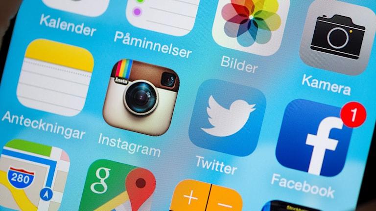Sociala medier appar i mobiltelefon