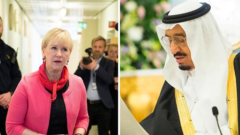Utrikesminister Margot Wallström (S) och kung Salman i Saudiarabien.