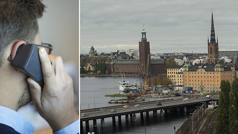 En bild på Stockholm där Slussen och Stadshuset syns.