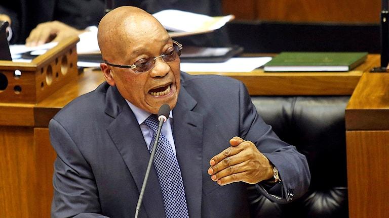 Sydafrikas president Jacob Zuma under en frågestund i det sydafrikanska parlamentet i mars 2016.