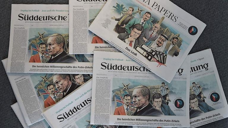Flera nummer av tidningen Sueddeutsche Zeitung illustrerar Panamahärvan.