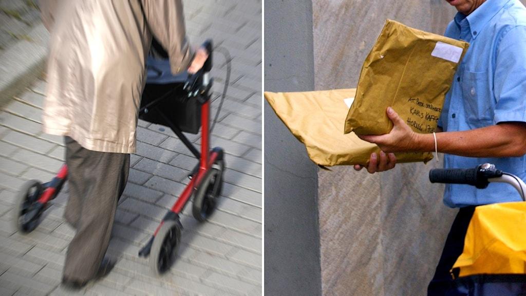 montage äldre person med rollator och brevbärare med stort kuvert i handet