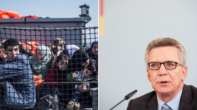 montage flyktingar bakom stängsel på lesbos och tysklands inrikesminister Thomas de Maziere
