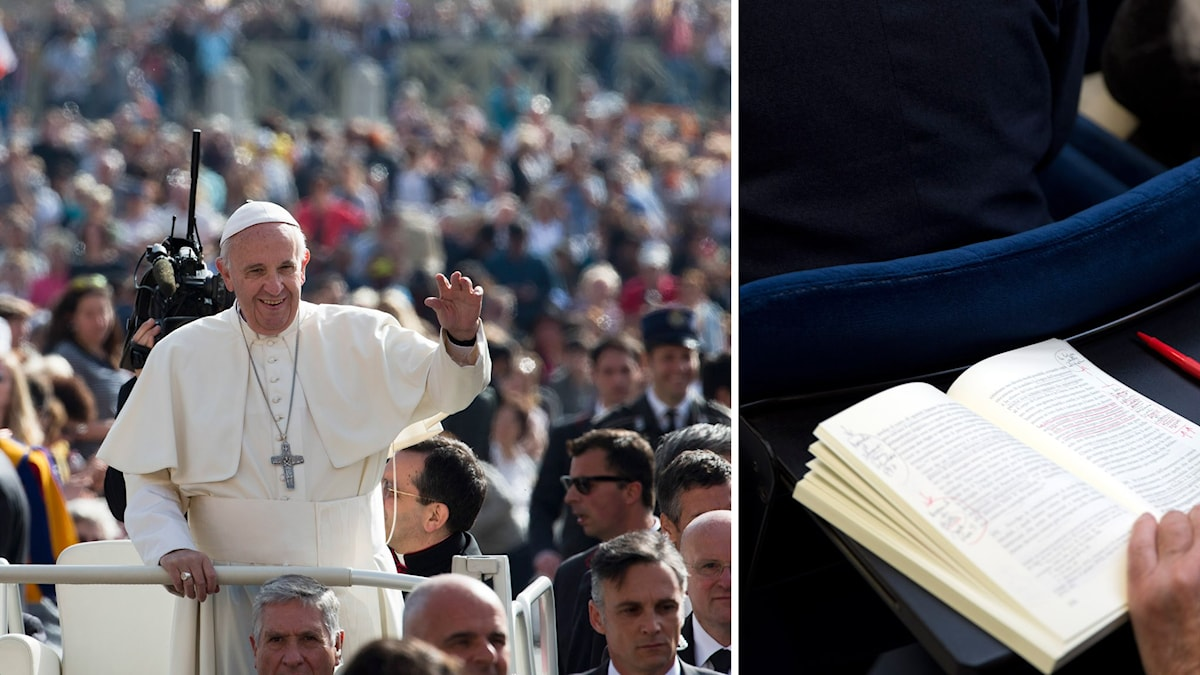 """Påven vinkar till folkhavet från sin """"pope-mobile"""". Till höger en kopia av det nya dokumentet """"Kärlekens Glädje (Amoris Laetitia)."""