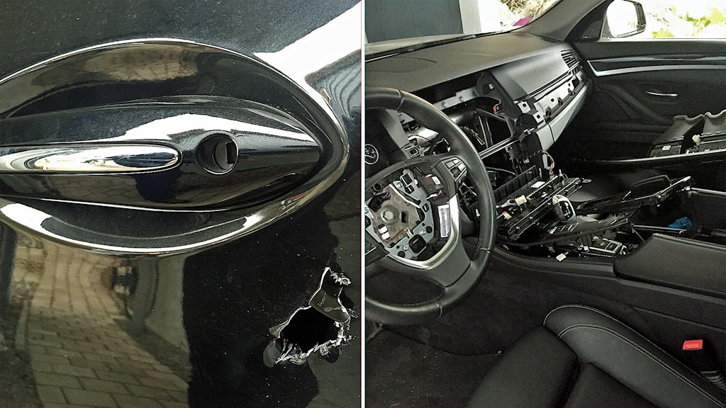 Tjuvar bryter sig in i BMW-bilar genom ett hål i dörren. Airbag och navigationssystem plockas ut och stjäls.