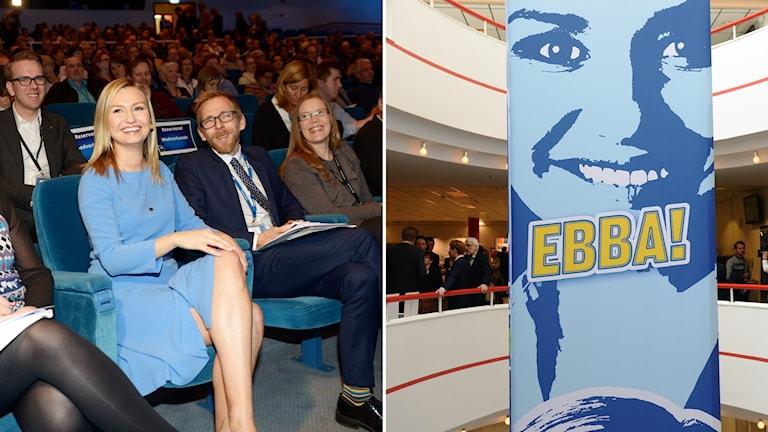 Kristdemokrater och partiledaren Ebba Busch Thor. T.h. en banderoll med texten Ebba!