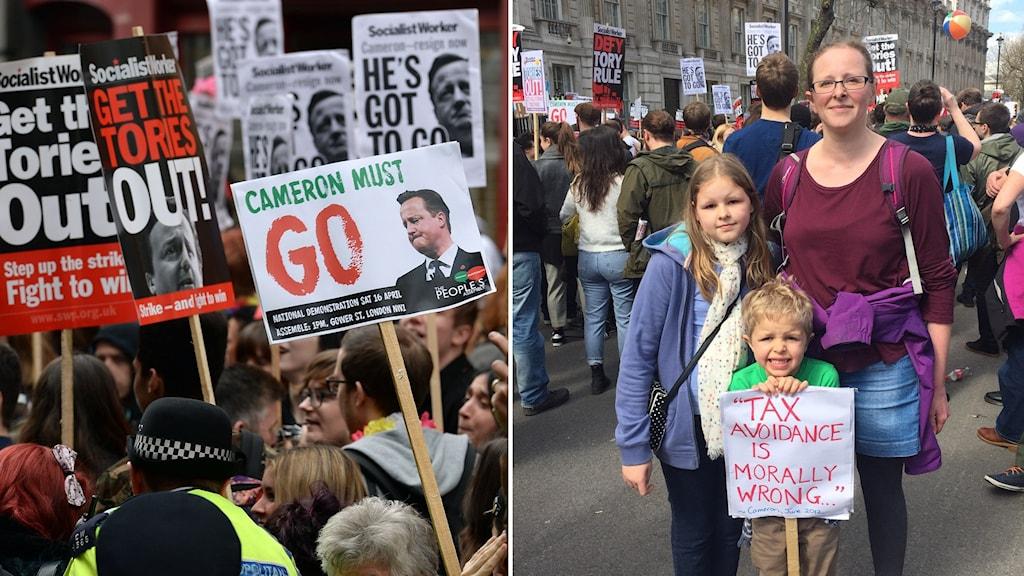 Alice Careless på demonstration med barnen Jessie och Ben utanför Downing Street