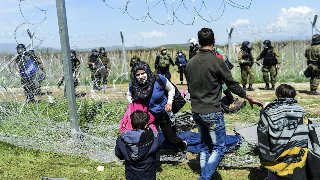 En familj med tandkräm insmort i ansiktet som skydd mot tårgasen försöker sätta sig i säkerhet när flyktingar och migranter drabbar samman med makedonsk polis under en protest för att åter öppna gränsen.