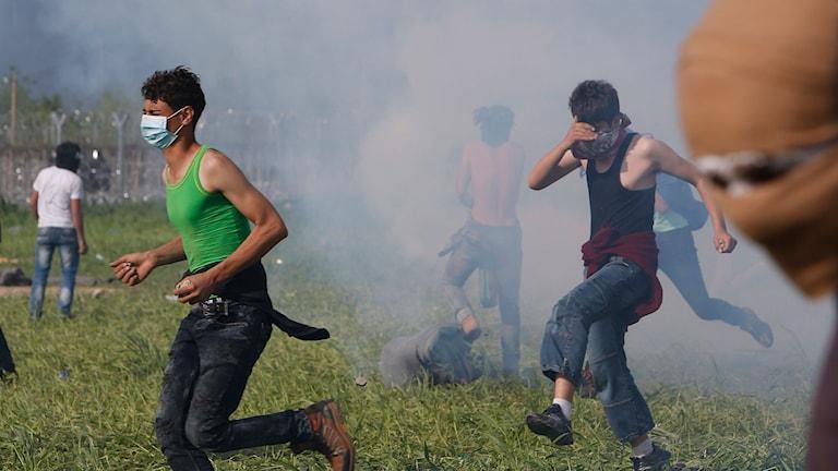Tårgas används mot flyktingar vid gränsen mellan Makedonien och Grekland. Foto: Amel Emric/TT.