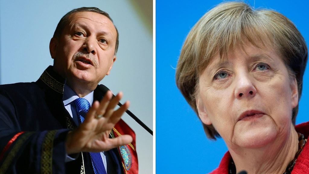Recep Tayyip Erdoğan och Angela Merkel