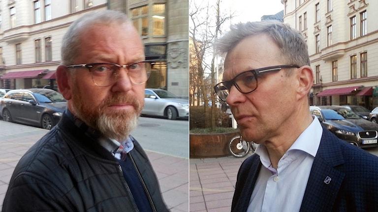 Byggnads ordförande Johan Lindholm (t.v.) och Ola Månsson, vd på Sveriges byggindustrier.
