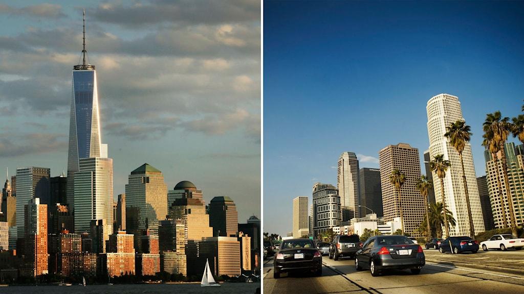 Delad bild av New York och Los Angeles
