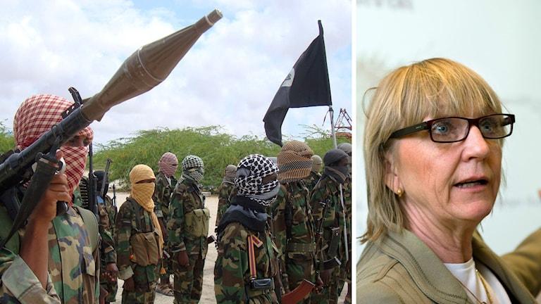 Al shabaab och skatteverkets Pia Bergman i en splitbild