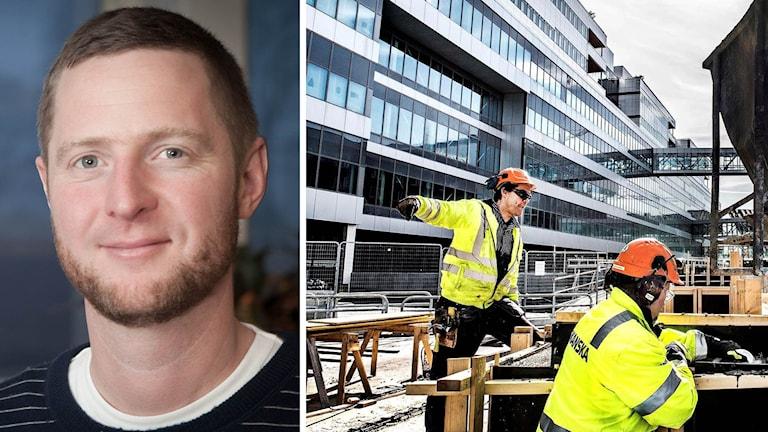 Anders Jelmin och byggarbetare i en splitbild