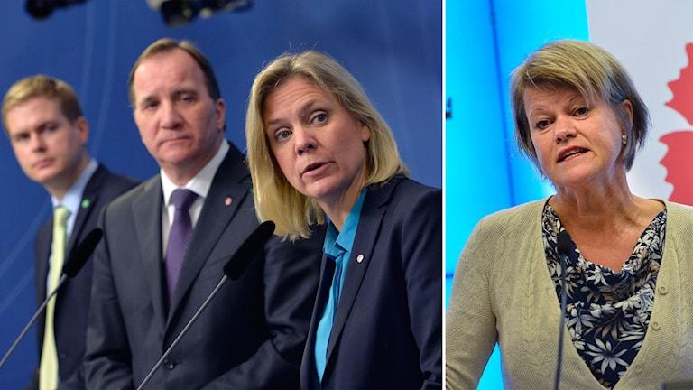 Delad bild med regeringspartiernas företrädare som tittar på Ulla Andersson.