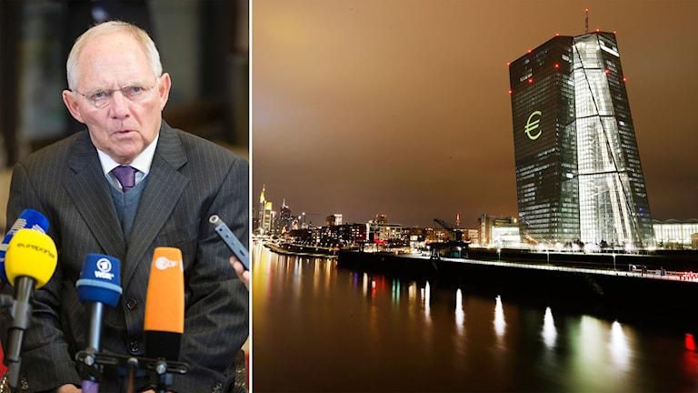 Delad bild: Man med mikrofoner och ECB:s huvudkontor i Frankfurt Am Main.