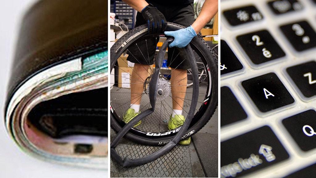 Plånbok cykelreparation dator
