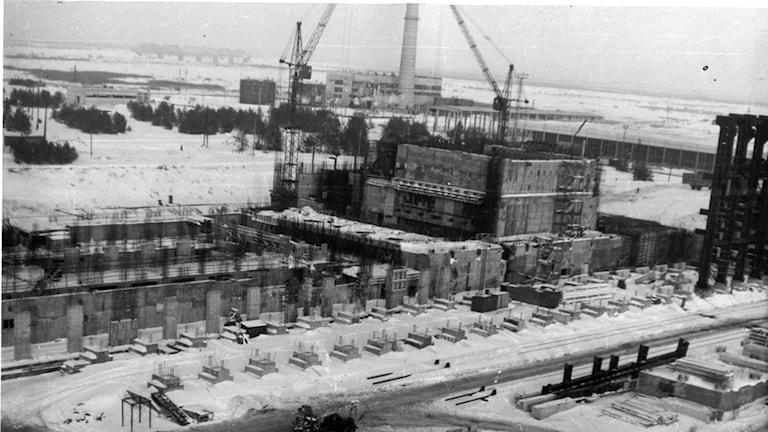 Tjernobyl kärnkraftverk, Reaktor 1 under byggnadsprocessen 1975.