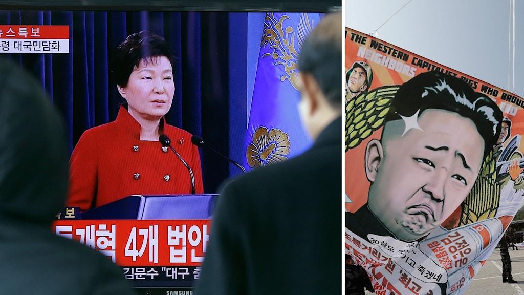 Sydkoreas president Park Geun-hye och en nidbild på Nordkoreas diktator Kim Jong-un.