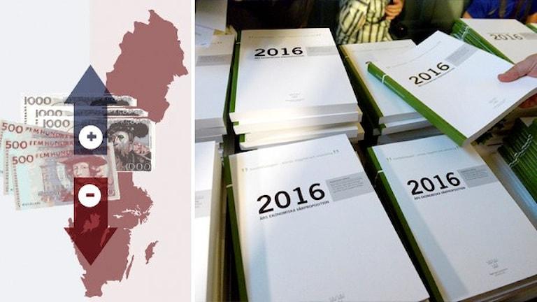 Sverigekarta med sedlar och pilar på. Foto på travar av vårbudgeten 2016. Grafik: Susanne Lindeborg/Sveriges Radio. Foto: Janerik Henriksson/TT.