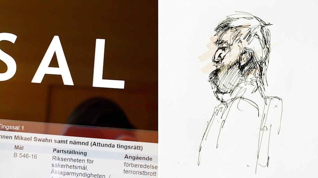 Rättegången hålls i sal 1 i Attunda tingsrätt. Tecknad bild på den misstänkte 20-åringen.