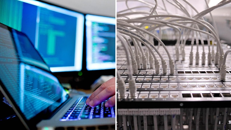 Dator och datorkablar.
