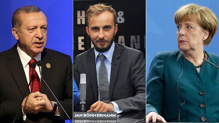 Turkiets president Erdogan, komikern Jan Böhmermann och Tysklands förbundskansler Merkel.