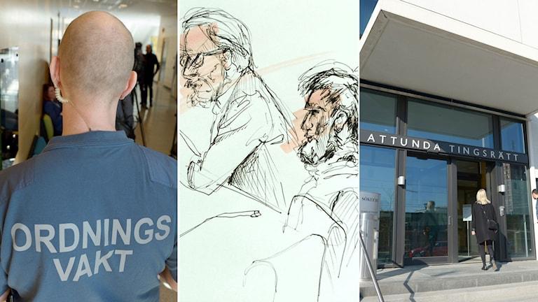 Ordningsvakt utanför rättegångssalen. Teckning av den åtalade 20-åringen och hans advokat. Entrén till Attunda Tingsrätt.