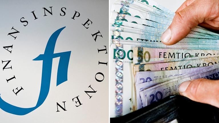 På vänster sida: bild på Finansinspektionens logga fi, bild till höger: sedlar och plånbok.