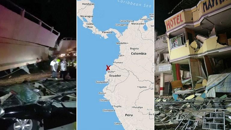 De första bilderna från Ecuador visar skakiga tv-bilder från en raserad bro i staden Guayaquil och ett svårt skadat hotell i staden Manta. Foto: TT. Montage: Sverigesradio.