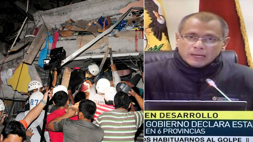 Räddningsarbetare försöker få ut människor ur ett raserat hus. Vicepresident Jorge Glas under en presskonferens.