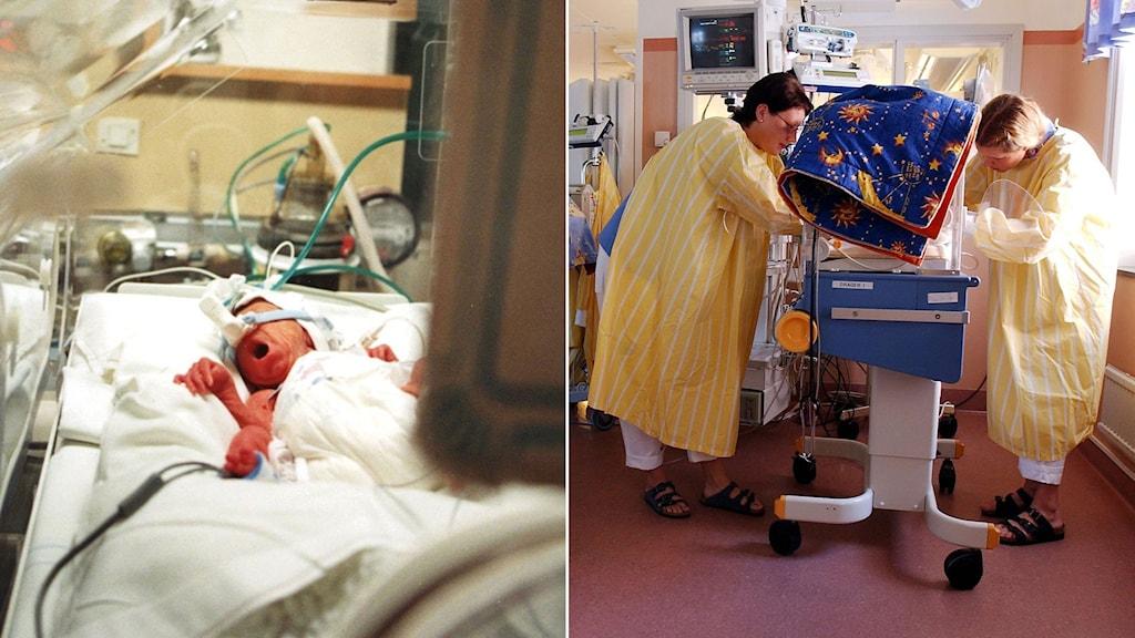 Prematur baby i kuvös. Vårdpersonal tar hand om en förtidigt född baby.
