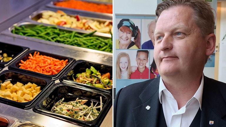 Montage Skolbespisning och Per Schöldberg, Centerpartistiskt kommunalråd Växjö.