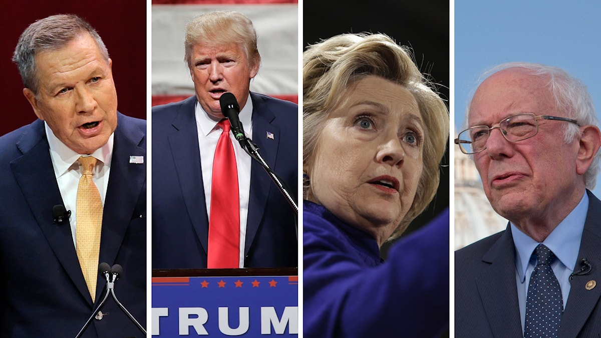 Johan Kasich, Donald Trump, Hillary Clinton och Bernie Sanders. Foto: TT