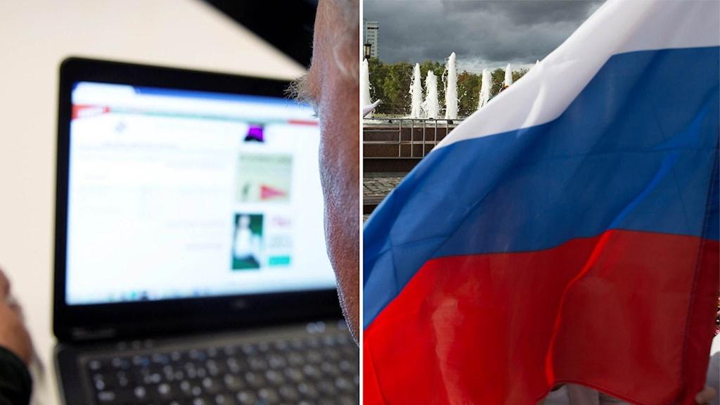 Man tittar på datorskärm och en rysk flagga.