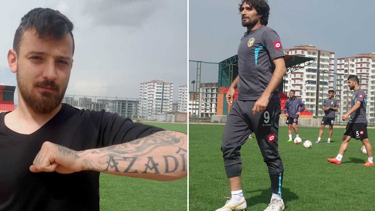 Fotbollsspelaren Deniz Naki i Amedspor stängdes av efter politiska uttalanden. På hans arm står det frihet på kurdiska.