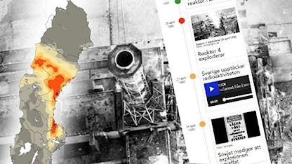 Grafik och tidslinje över Tjernobylolyckan. Foto: chnpp.gov.ua. Grafik: Sveriges Radio.