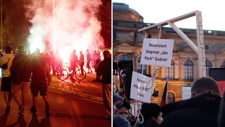 Främlingsfientliga demonstrationer och hets mot flyktingar och vänsteraktivister drog under förra året flera gånger uppmärksamheten till Freital och Dresden.