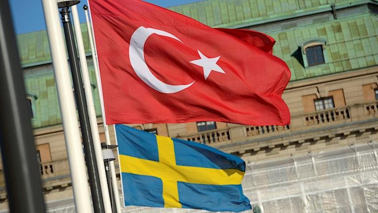 Turkiet och Sveriges Flaggor