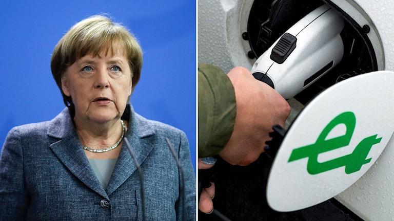 Angela Merkel förbundskansler Tyskland. Elbil.