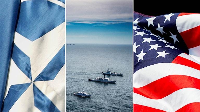 Nato båtar och USA:s flagga