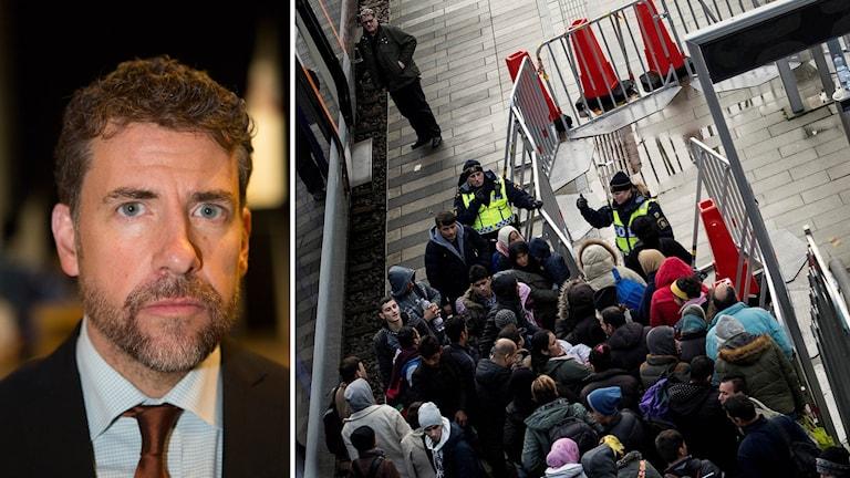 Migrationsverkets operative chef Mikael Ribbenvik och Polis och flyktingar vid Hyllie station utanför Malmö.