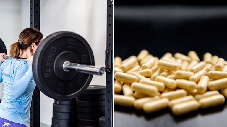 Montage kvinna i blå träningskläder som lyfter tyngder på gym med närbild på kosttillskott i pillerform
