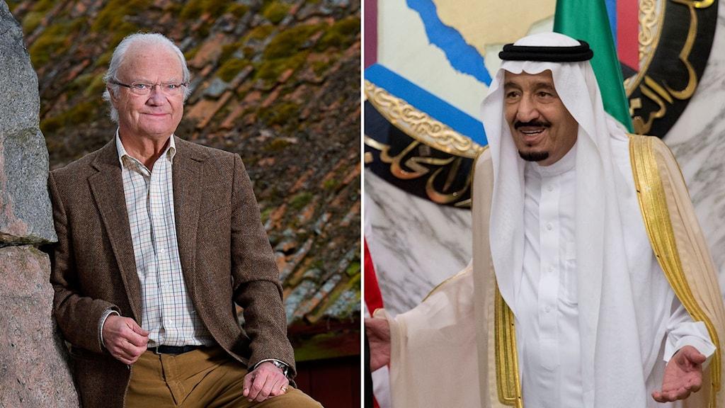 Kungen framför ett mossigt tegeltak och Saudiarabiens kung med öppna händer.