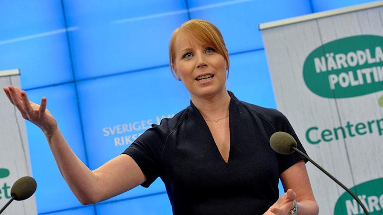 Centerpartiets partiledare Annie Lööf under en tidigare presskonferens.