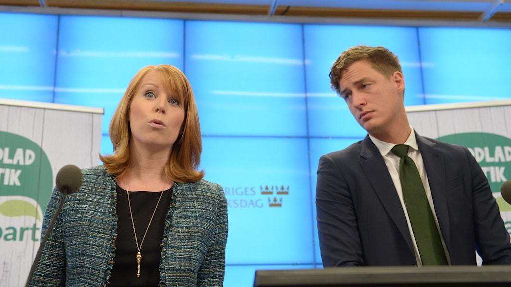 Centerpartiets partiledare Annie Lööf och partiets ekonomiskpolitiske talman Emil Källström.