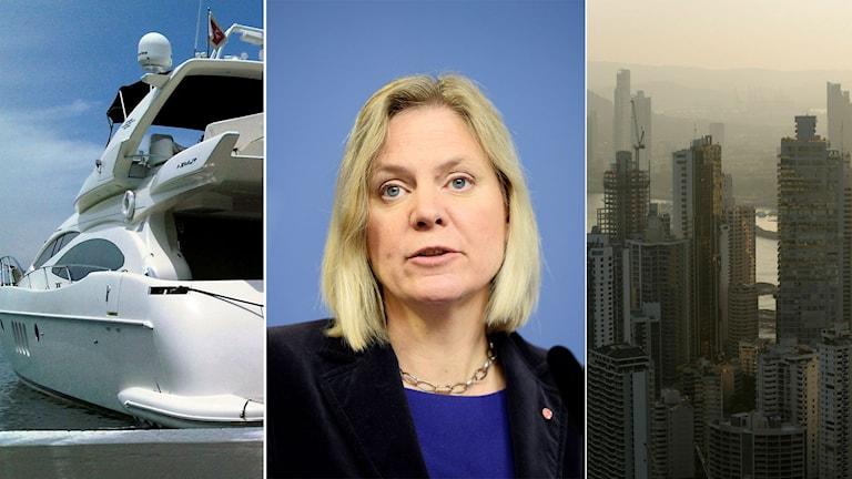 Stor motorbåt i karibisk hamn. Finansminister Magdalena Andersson. Panama City.
