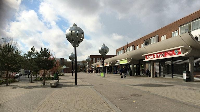 Bilden visar några affärslokaler längs Bennets väg i stadsdelen Rosengård i Malmö. Foto: Anna Bubenko/Sveriges Radio.
